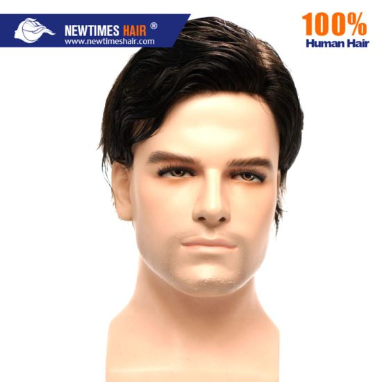 Men Natural Indian Human Hair Lace Toupee pictures & photos