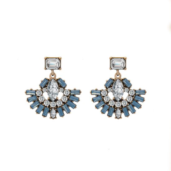 Women Fashion Costume Jewelry Vintage Stone Bead Diamond Stud Earrings
