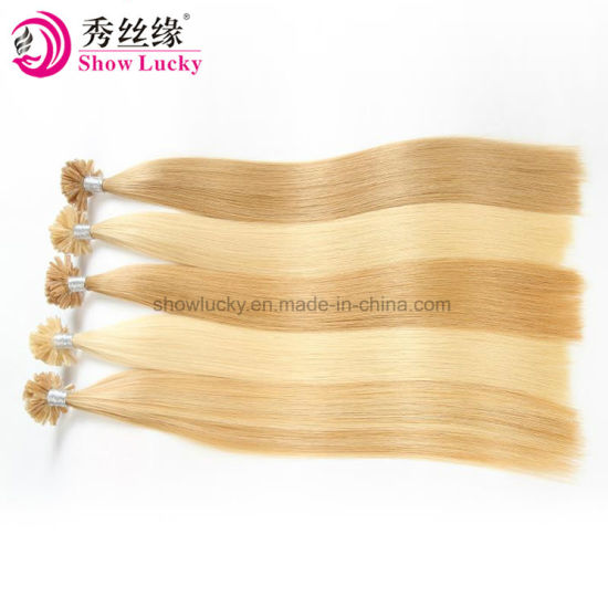 100% Blonde European Human Hair Weaving Extension U-Tip Stick Keratin Hair Silky Straight Hair Products