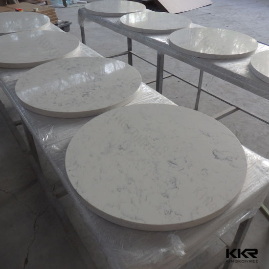 No Scratch White Round Quartz Dining Table Top