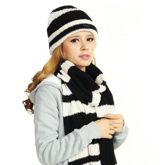 (LKN15036) Promotional Winter Knitted Beanie Hats with Scarf