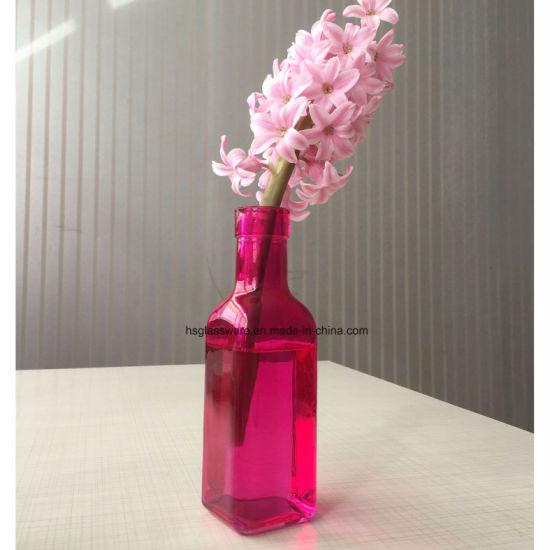 China Square Colorful Mini Glass Vase China Flower Vase Wedding