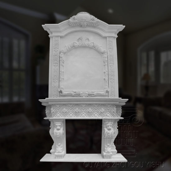 Natural Well Quality Marble Over Mantle Fireplace Surround