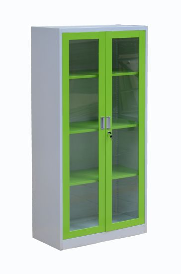 China Kd Structure Colorful Glass Swing Two Door Metal Storage