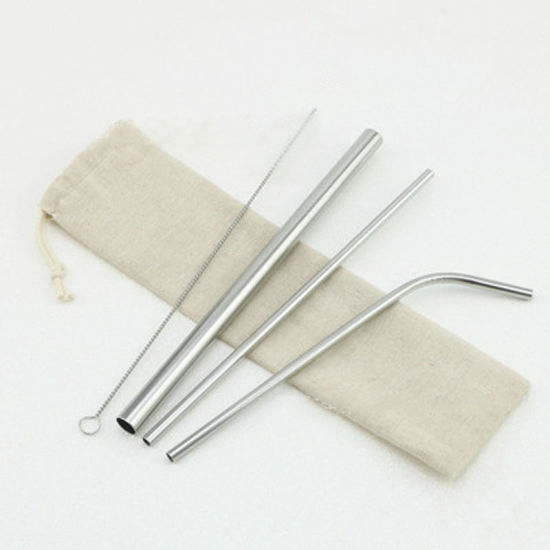 Stainless Steel Straw Set Straw Cleaning Brush Eco Friendly Straw