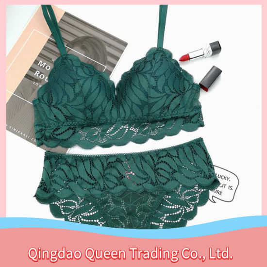 Wholesale High Quality Green Leaf Embroidered Sexy Gathered Lace Bra Set