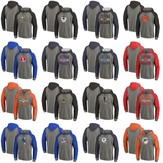N-F-L Timeless Collection Antique Stack Throwback Logo Tri-Blend Raglan Hoodies