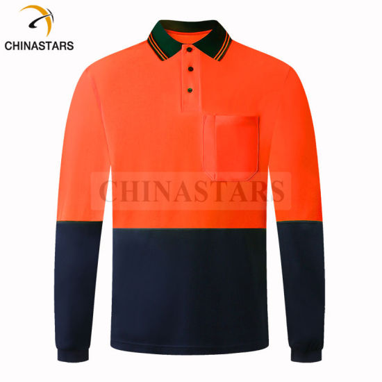 Wholesale Construction Work Birdseye Long Sleeve High Visibility Hi Vis Safety Reflective Polo T Shirt