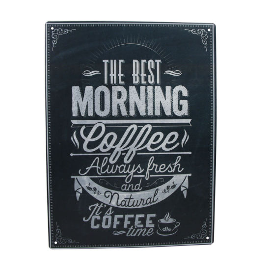 Wholesale Custom Decorative Vintage Style Metal Tin Coffee Shop Wall Signs