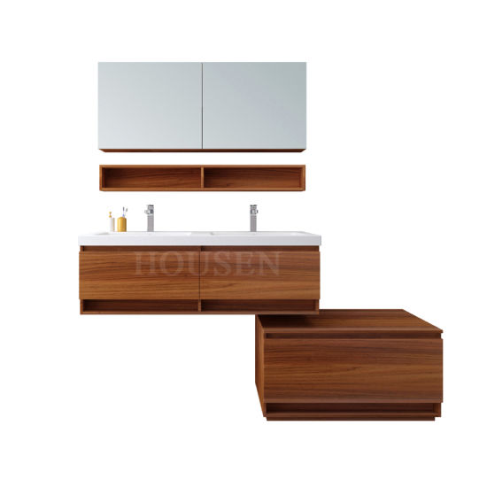 Bathroom Storage Cabinet with Double Washing Basin Melamine Mirror Vanity
