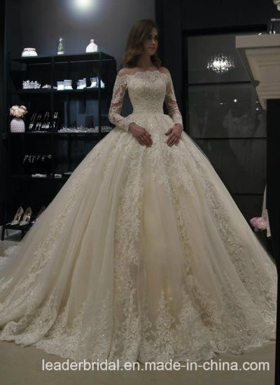 c63538ae4ac Lace Wedding Ball Gown Beaded off Shoulder Long Sleeves Bridal Wedding  Dresses 2019 L41