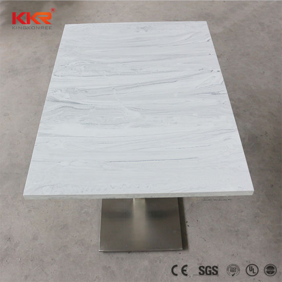 High Quality Marble Solid Surface Stone Fast Food Restaurant Dining Table pictures & photos