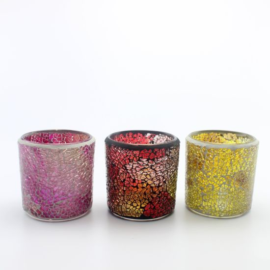 2019 New Arrival of Mosaic Glass Candle Jar for restaurant pictures & photos