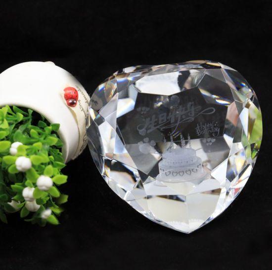 Glass Wedding Suvenir Promotion Home Decorational3dlaser Crystal Diamond Gift