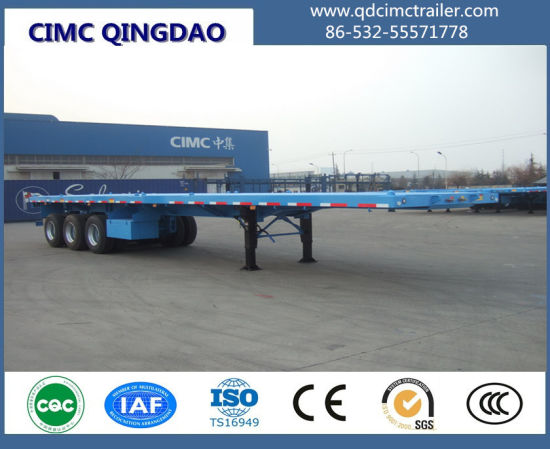 Cimc 3 BPW Axles 12.5m 40FT Container Trailer / Container Flatbed Semi Trailer Truck Chassis pictures & photos