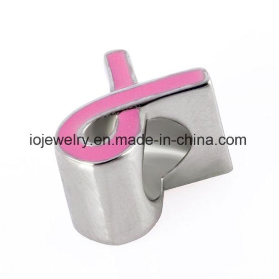 Wholesale Popular Metal Jewelry Bead with Pink Enamel