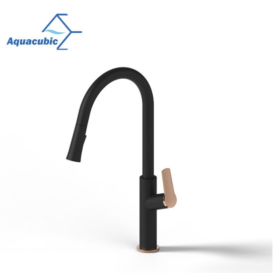 Aquacubic latest Designed Cupc Certified Tuned Color (Matte Black and Rose Gold) Slim Single Hole Pull Down Mixer Kitchen Faucet (AF1108-5)
