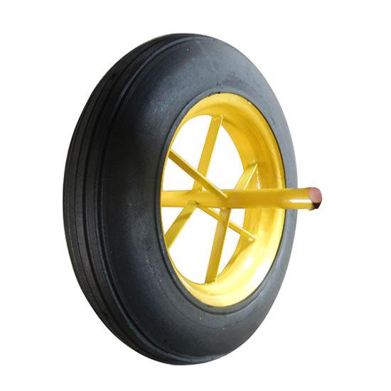14X4 Inch Solid Rubber Wheel Barrow Wheel with Spoke Rim
