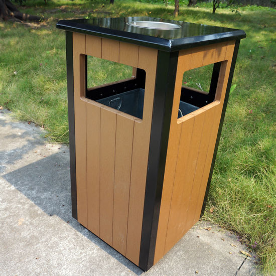 Garden Trash Bin with Plastic Wood for Hot Selling (HW-36) pictures & photos