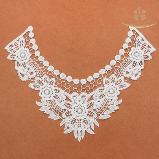 L60013 White Rose Flower Gpo Collar Lace Accessory / White Flower Garment Nylon Collar Lace