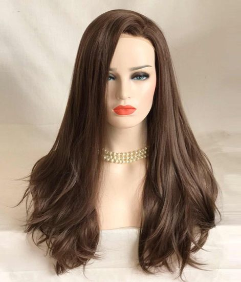 """28"""" Lace Front Wig High Quality Synthetic Kanekalon Fiber Chocolate Brown Loose Curl CIF Price to Europe and North America"""