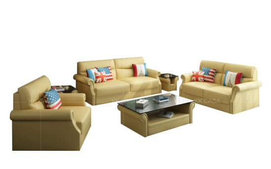 Hand Made Comfortable Living Room Leather Yellow 1+2+3 Sofa Set Living Room  Furniture