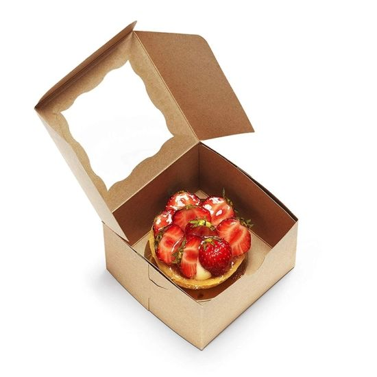 Custom Eco Friendly Biodegradable Window Big Paper Cake Box