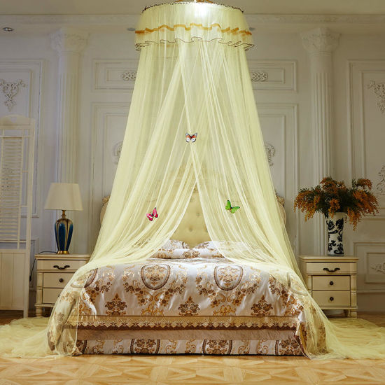 1PC Home Bed-Curtain Solid Court Style Round Top Decorative Universal Mosquito Net