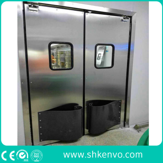 Stainless Steel Or Plastic Crash Bump Metal Double Acting Swinging Impact Traffic Doors For Food Factory Warehouse Restaurant Kitchen Or