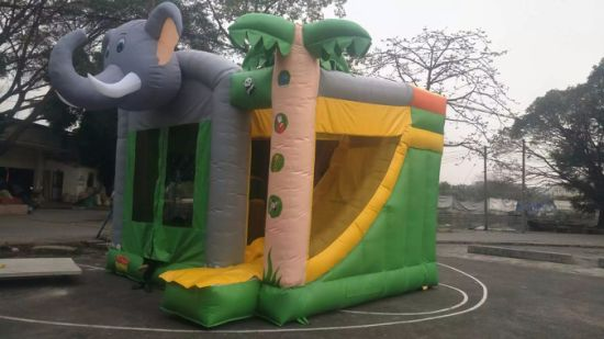 2019 New Kids Inflatable Funny Elephant Jumping Bouncer with Slide for Sale pictures & photos