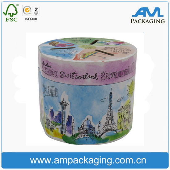 Round Tube Laminated Paper Custom Cylindrical Coin Storage Box pictures & photos