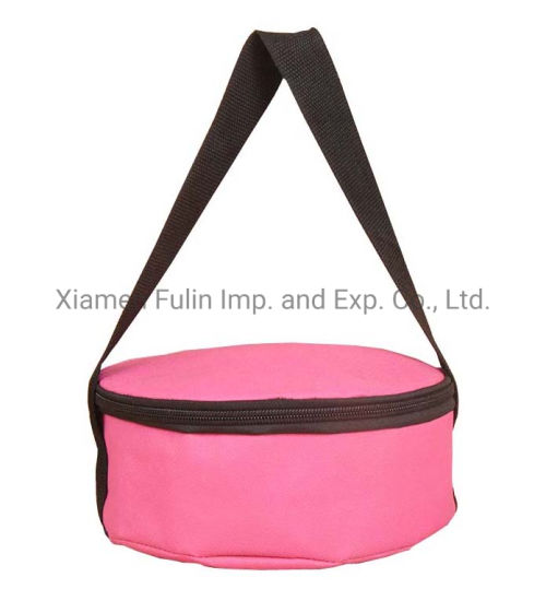 Promotional Customized Reusable Recycled Pink PP-Non-Woven Round Cooler Lunch Bag