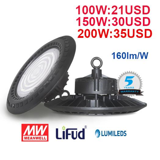 160lm/W 100W/150W/200W Warehouse/Factory IP65 Industrial UFO LED High Bay Light with 5 Year Warranty