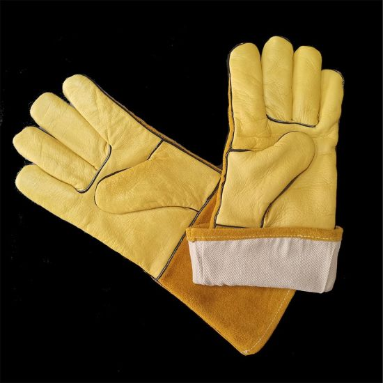 Long Cuff Certificated TIG Leather Welding Hand Safe Electricwelding Gloves