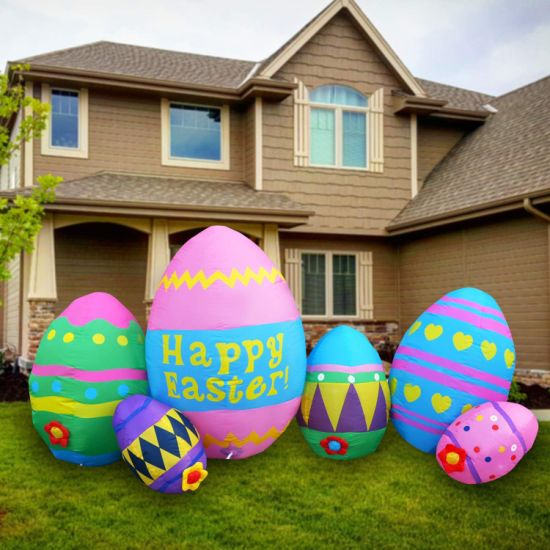Giant Inflatable Easter Colorful Eggs Inflatable Egg for Lawn Garden Lighted up