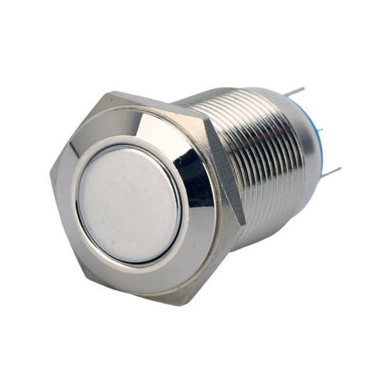16mm Flat Latching Stainless Steel Metal Waterproof Push Button Switch