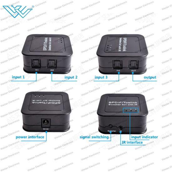 IR Remote SPDIF Toslink Digital Optical Audio Switcher 3x1 Audio Switch Box