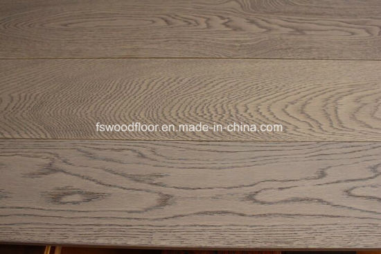 China Grey Color White Oak Hardwood Flooring Wire Brushed China