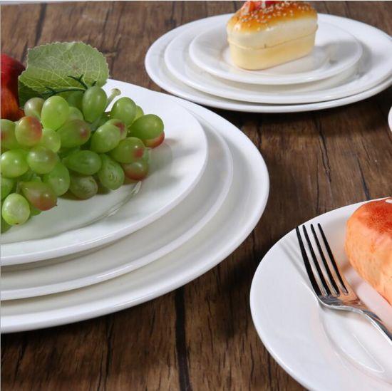 Round White Plates Round Diswh for Hotel& Restaurant