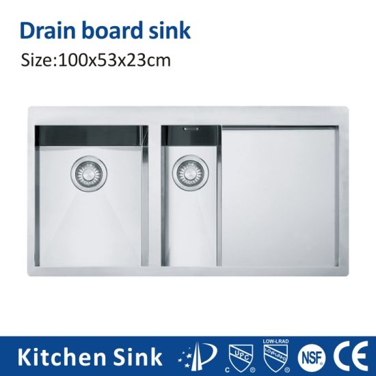South Africa R10 2 3mm 5040 Aquacubic Above Counter 1 2 3 Basin Double Bowl Sink Blcak Manual for Free Standing with Fruit Drainer Board Kitchen Sink