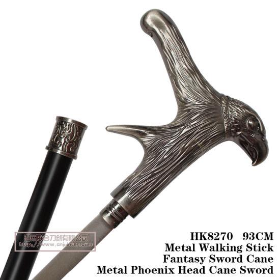 China Metal Phoenix Head Cane Sword Metal Walking Stick 93cm