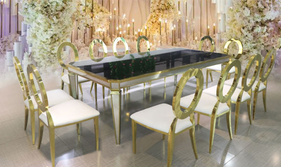 Fashion Luxury Hotel Stainless Steel Table Cheap Wedding Banquet Dining Table and Dining Chair & China Fashion Luxury Hotel Stainless Steel Table Cheap Wedding ...