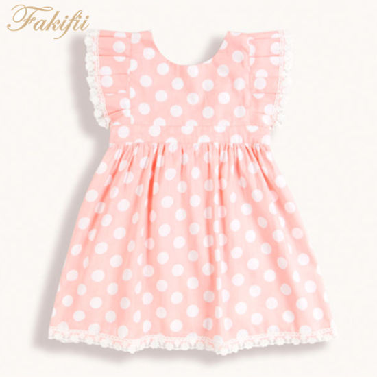 58894a69a93 2019 Summer Spring New Design Children Apparel Girl Clothing Infant Clothes  Pink Polka DOT Party Dresses for Girls