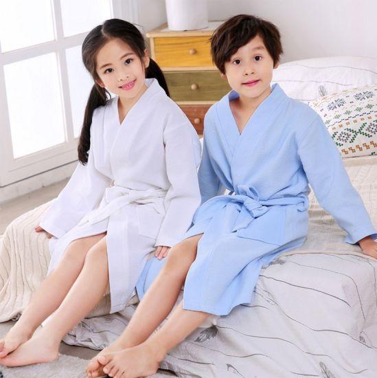 Kids 100/% Cotton Terry Towelling Hooded Shawl Bath Robe Children Bathrobe Dressing Gown