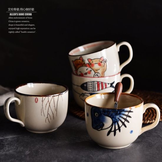 china 300ml 350ml romotional customized logo coffee cup ceramic