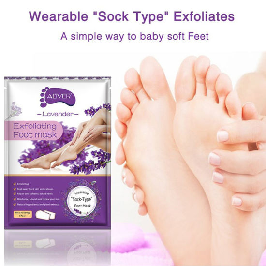 New Product Rose Lavender Chamomile Lemon Aloe Exfoliate Foot Mask
