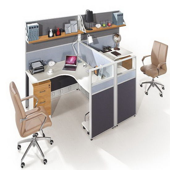 Contemporary 2 Seats High Wall L Shaped Desk Office Cubicle Pictures Photos