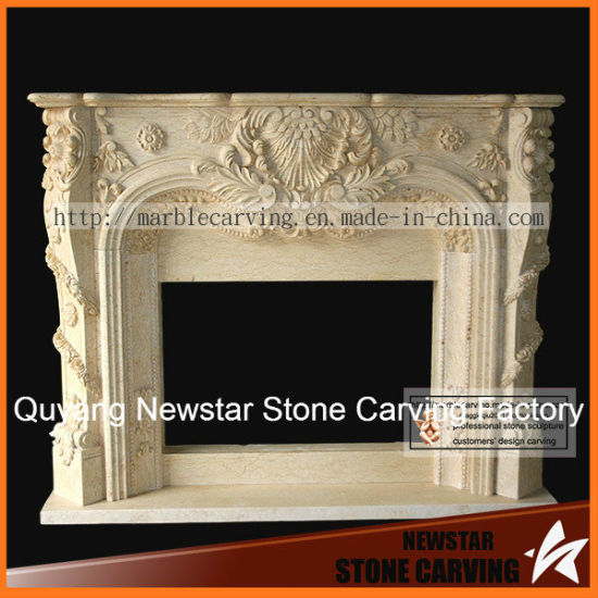 Beige Stone Sculpture Carving Natural Fireplace Surround pictures & photos