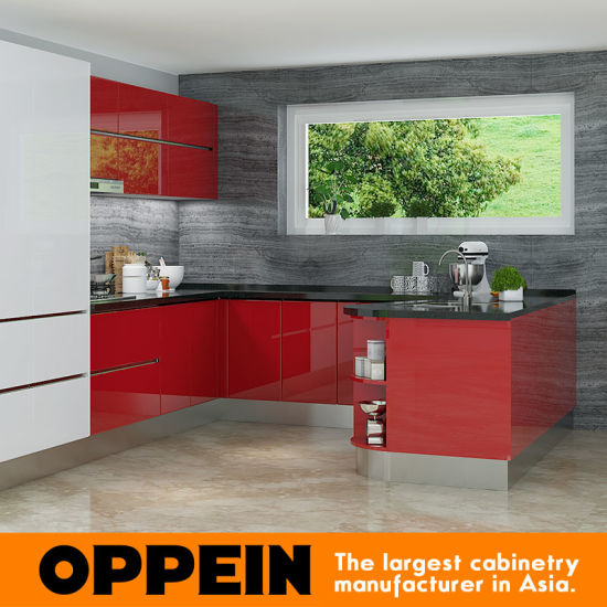 Tanzania Exhibition Modern Red Lacquer Wooden Wholesale Modular Kitchen Cabinet
