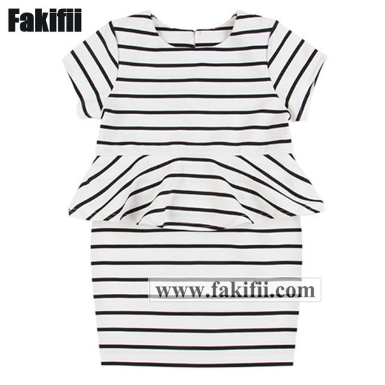 Customised ODM Children/Baby/Kid Clothes Infant Garment Girl Knitted Striped Princess Cotton Dress